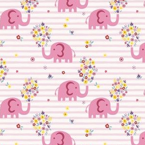 Elephant and flowers - pink