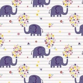 Elephant and flowers - purple