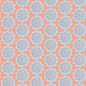 17-08H Abstract floral Coral Blue Peach || Mid-century modern  geometric flower home decor 50s