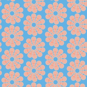 17-08F Mid-century modern abstract flower || coral and blue geometric floral peach orange _ Miss Chiff Designs