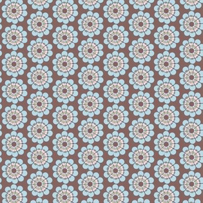 17-08D Mid-Century modern flower || Geometric floral Blue pink brown  green 50s _ Miss Chiff Designs