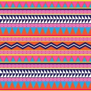 Bright Pink and Orange Neon Tribal Print