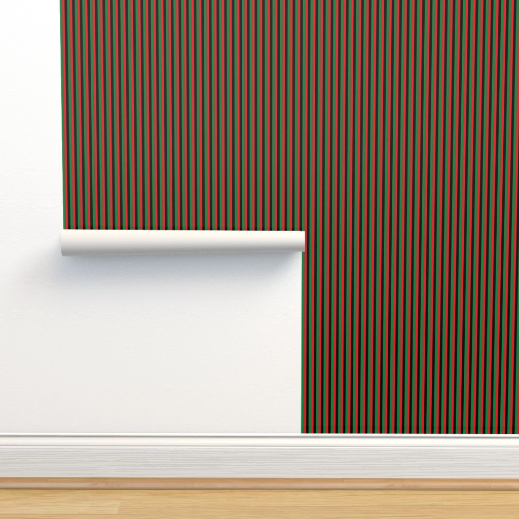 Isobar Durable Wallpaper featuring Quarter Inch Red, Black, Green Pan African Flag Vertical Stripes by mtothefifthpower