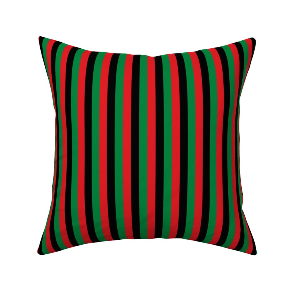 Catalan Throw Pillow featuring Red, Black, Green Pan African Flag Vertical (Half Inch) by mtothefifthpower
