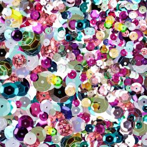 Oversize Rainbow Sequins Photographic Pattern Seamless