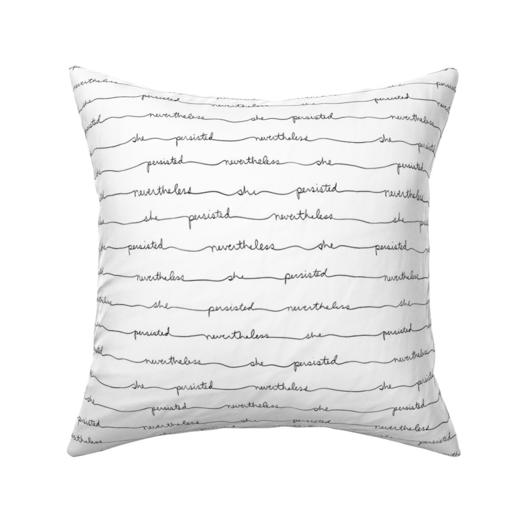 Catalan Throw Pillow featuring Persisting Stripes (Black Text on White) by iwriteplays