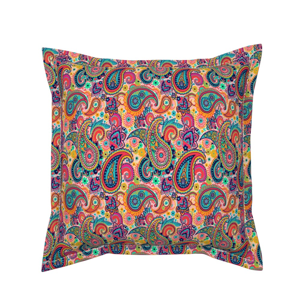 Serama Throw Pillow featuring Multicolor Paisley Seamless Pattern on Orange by totes_adorbs