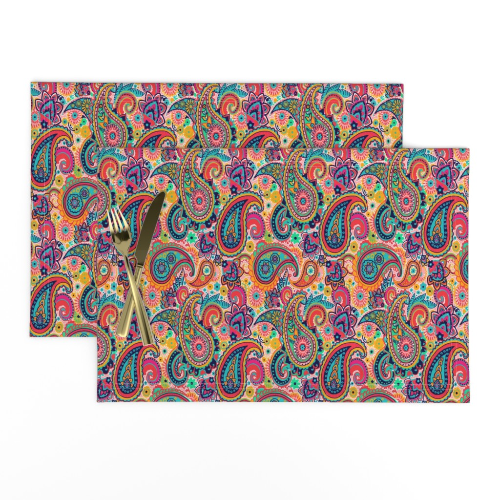 Lamona Cloth Placemats featuring Multicolor Paisley Seamless Pattern on Orange by totes_adorbs
