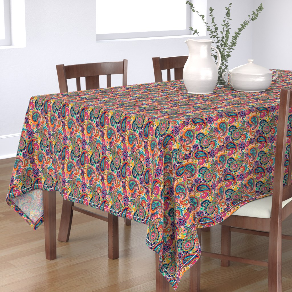 Bantam Rectangular Tablecloth featuring Multicolor Paisley Seamless Pattern on Orange by totes_adorbs