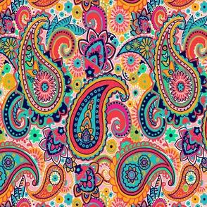 Multicolor Paisley Seamless Pattern on Orange