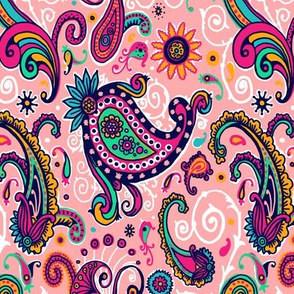 Fancy Pink and Teal Paisley Swirl Pattern