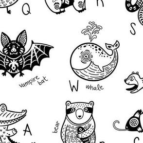 Black&White animals alphabet