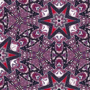 Kaleidoscope Magenta Stars on Purple Upholstery Fabric