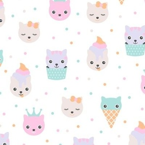 Kawaii love sweet little kitty cat kitten japan lovers design blue pink
