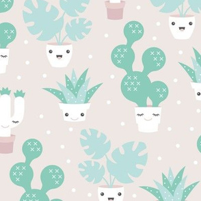 Kawaii love cactus botanical succulent garden spring summer cuteness japan lovers design green gender neutral pastel