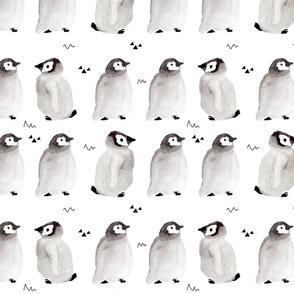 Watercolor baby penguins