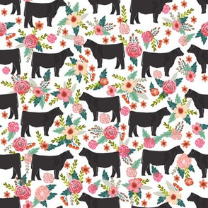 Show Steer cattle farm sanctuary florals animal fabric pattern white