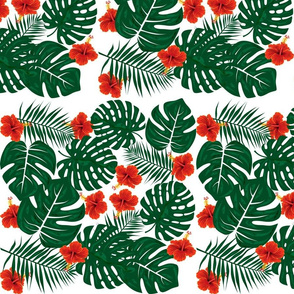 Tropical Hibiscus Flowers Monstera Palm Leaves