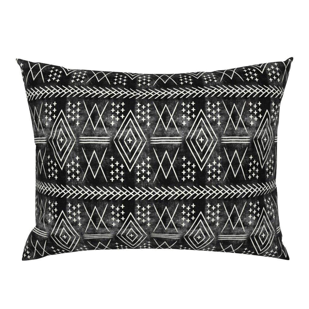Campine Pillow Sham featuring vintage moroccan (med scale) on black by littlearrowdesign