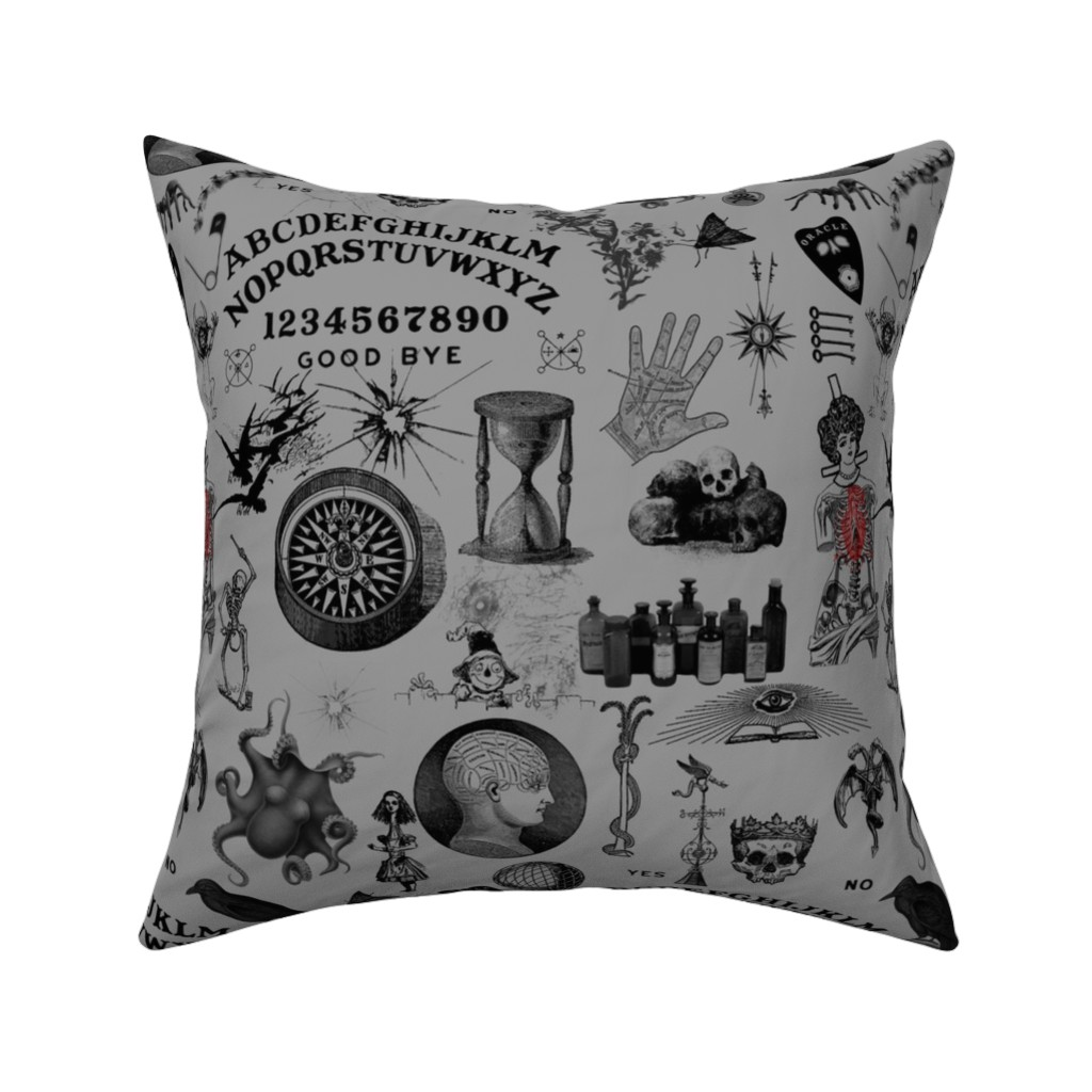 Catalan Throw Pillow featuring Apothecary by mandamacabre
