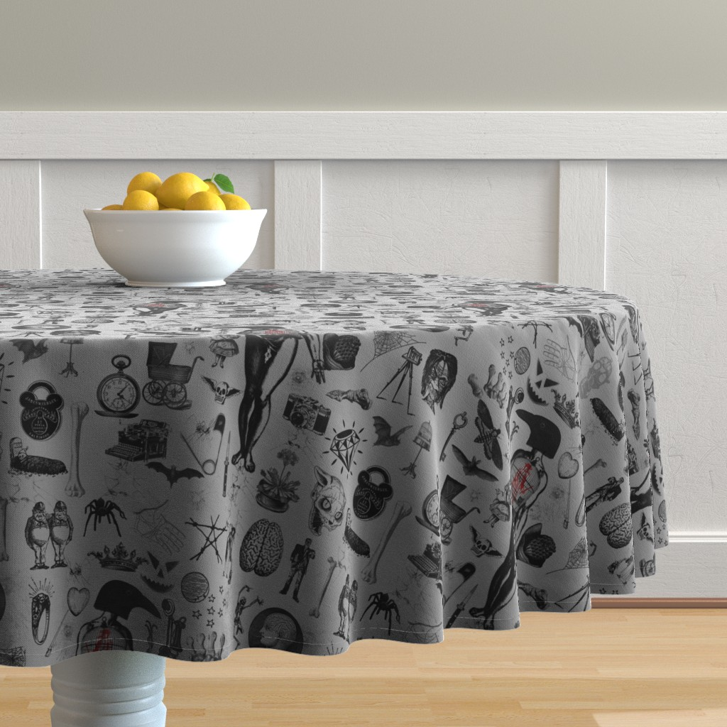 Malay Round Tablecloth featuring Apothecary by mandamacabre