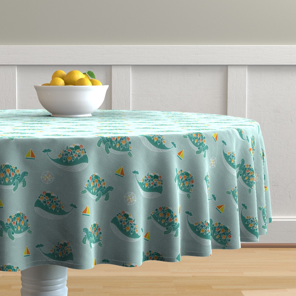 Malay Round Tablecloth featuring Whaleshire and Turtleland by elena_naylor