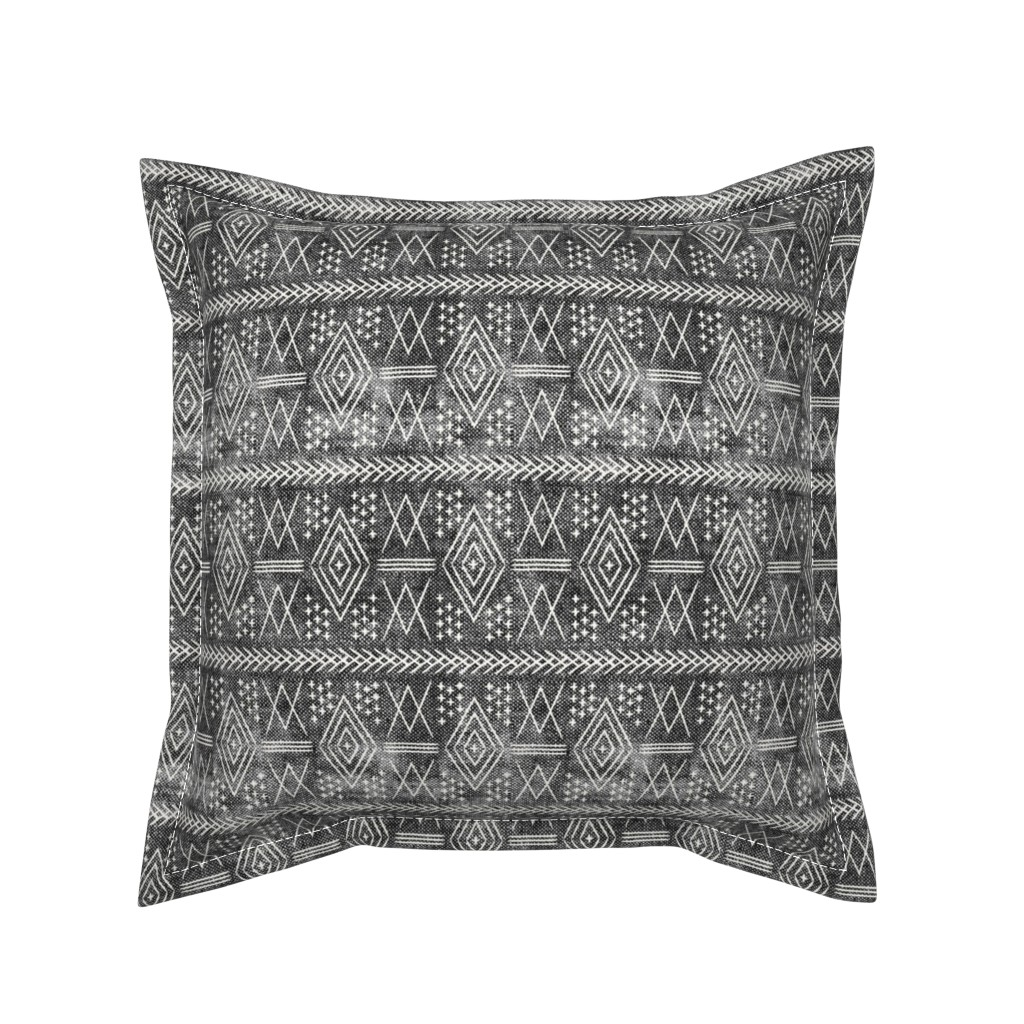 Serama Throw Pillow featuring vintage moroccan (small scale) grey by littlearrowdesign