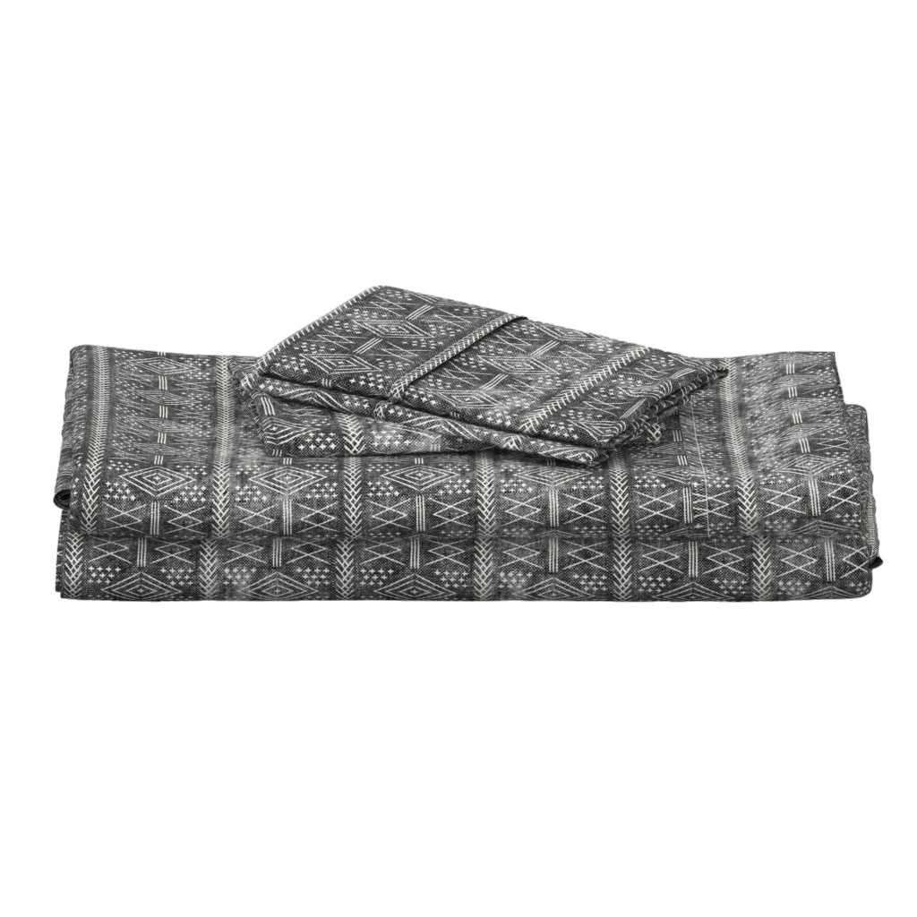 Langshan Full Bed Set featuring vintage moroccan (small scale) grey by littlearrowdesign