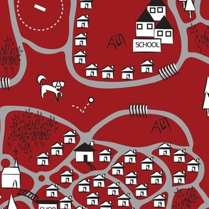 Local Dog Walking Map Sketch red