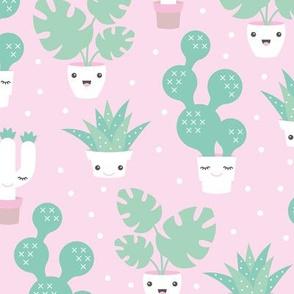 Kawaii love cactus botanical succulent garden spring summer cuteness japan lovers kids design pink and green girls pastels