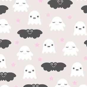 Kawaii love sweet ghosts and bats spooky halloween nights cuteness japan lovers design pink girls