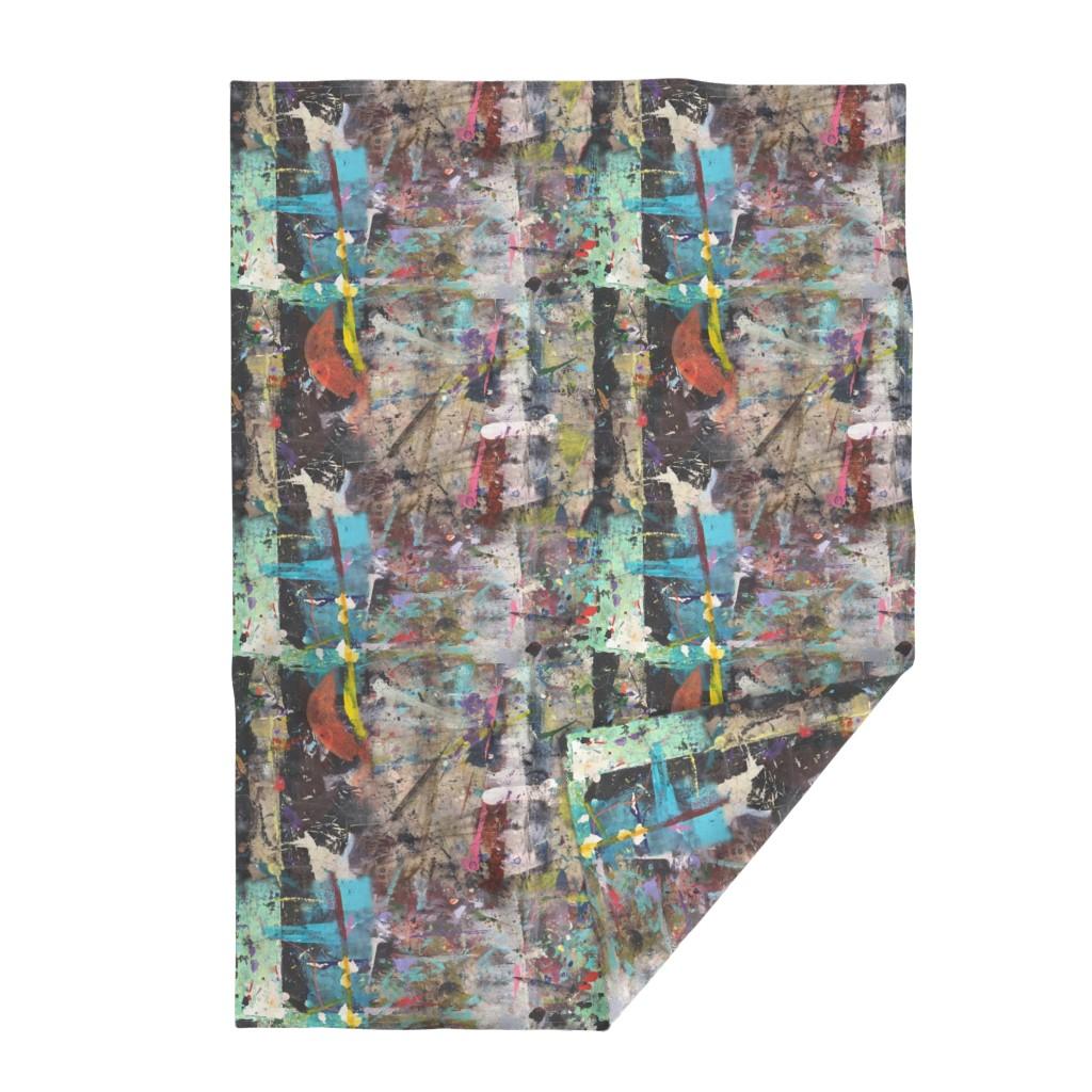 Lakenvelder Throw Blanket featuring #2 Abstract Paint Graffiti || Jumbo Grunge  Mint Green Blue Black White Tan Distressed Modern  _ Miss Chiff Designs by misschiffdesigns