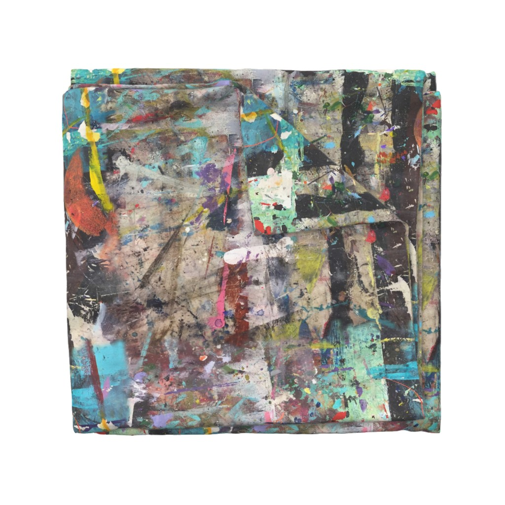 Wyandotte Duvet Cover featuring #2 Abstract Paint Graffiti || Jumbo Grunge  Mint Green Blue Black White Tan Distressed Modern  _ Miss Chiff Designs by misschiffdesigns