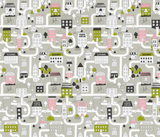 City Map. Cute funny town fabric design with adorable houses, cats, trees.