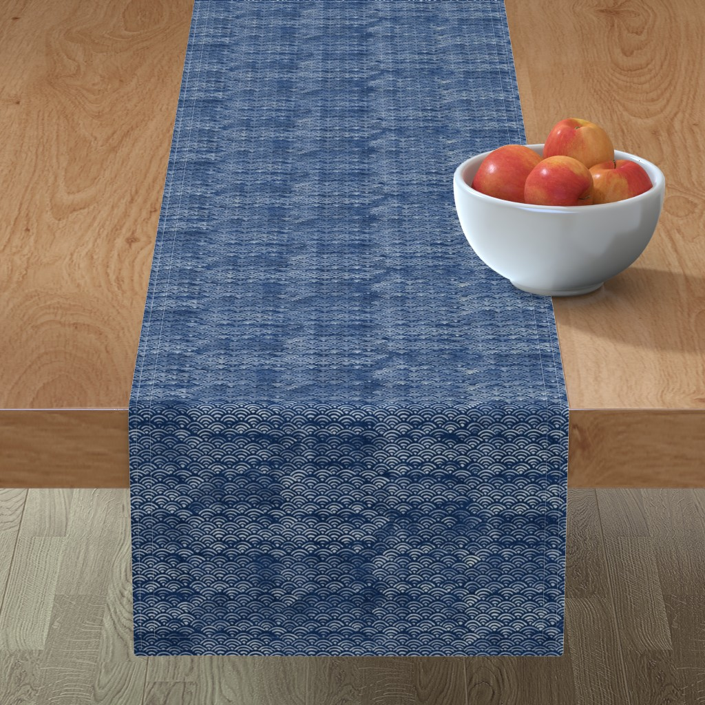 Minorca Table Runner featuring Japanese Block Print Pattern of Ocean Waves, Japanese Waves Pattern in Indigo Blue, Blue Boho Print, Beach Fabric by forest&sea
