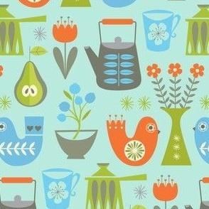 scandi kitchenette on blue