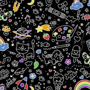 Oodles of Doodles on Black with color