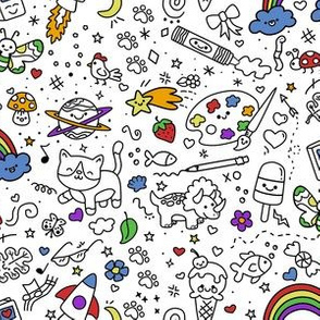 Oodles of Doodles on White with color