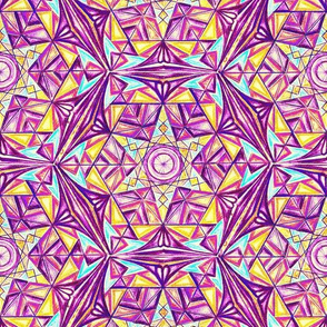 Flower of Life Pattern Fabric Purple