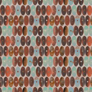 Staggered Earthy Burnt Orange, Brown and Grey Watercolor Oval Stripes