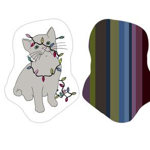 Xmas Kitties - colour-cut-and-sew cushion