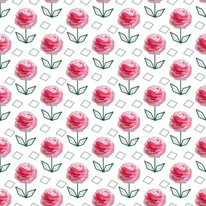 Pink Buttercups with Diamonds on White Upholstery Fabric
