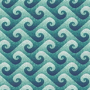1:6 scale wave mosaic - navy, teal, white