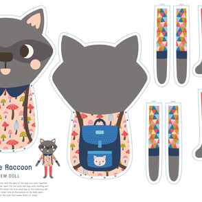 Robin the Raccoon Cut & Sew Doll
