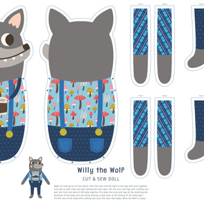 Willy the Wolf Cut & Sew Doll