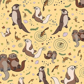 Otters on Yellow