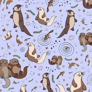 Otters on Purple