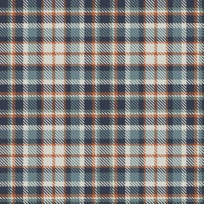 Navy Terra Cotta Blue Gray Linen and Green Gray Bayeux Palette Plaid