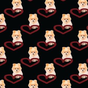 Heart Pomeranian Black Upholstery Fabric