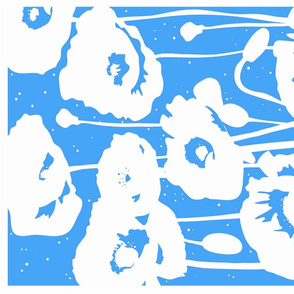 Tea towel // Poppies in Bright Blue - Monochrome design modern floral by Zoe Charlotte